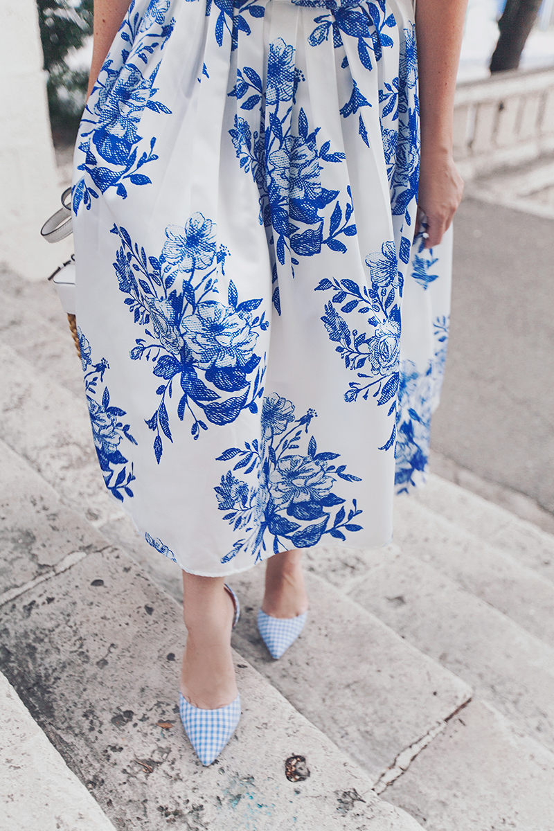 Chicwish Blue Floral Sketch Pleated Midi Skirt