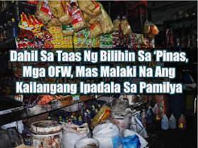 """What is the main reason why many Filipinos decided to leave their beloved family behind and work abroad? It is to earn more in order to be able to give their family the best possible future they can give. To buy the things they need, to have their own house to call their home, etc. The overseas Filipino workers  (OFW) are usually breadwinners supporting even their extended families as well. The remittances the OFWs send to their loved ones used to be enough to pay their bills, mortgages and even a little extra for them to go to the mall and enjoy. Today, the families of the OFWs are experiencing difficulty in stretching their budget for the whole month due to the high prices of everything. From basic commodities, transport fares, school supplies, etc.        Advertisement  Godofredo's wife is an OFW in Malaysia. She needed to work there because the family cannot rely on his salary as a """"barangay tanod"""" alone. They use the remittances they receive from his OFW wife for the education of their children, while his salary from his local job is used to pay their electric and water bills.   Gina also experienced difficulty in making ends meet and forced to transfer her children to a public school because the remittances sent by her OFW husband is not enough anymore for their expenses.  The remittances sent by OFWs abroad is considered the redeeming grace for the Philippine economy by helping stabilize the country's dollar reserve.    Ads   The Bangko Sentral ng Pilipinas (BSP) said that the OFW remittances had been slowing down and this year was the slowest flow of cash remittances in the past seventeen years. It is due to the repatriation program of the government, according to the BSP.  From $13.8 Billion from January to June last year, OFW remittances had slightly gone up to $14.2 Billion at the same period this year.  The government said headline inflation rate went up to 4.6 % in May as compared to 2.9%  last year mainly caused by price increases in fish and seafood, """