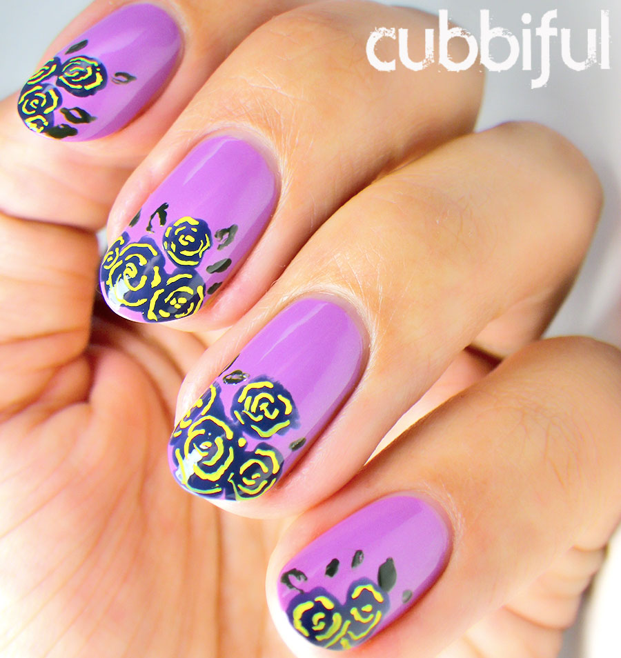 Roses and Violet Nails for Spring