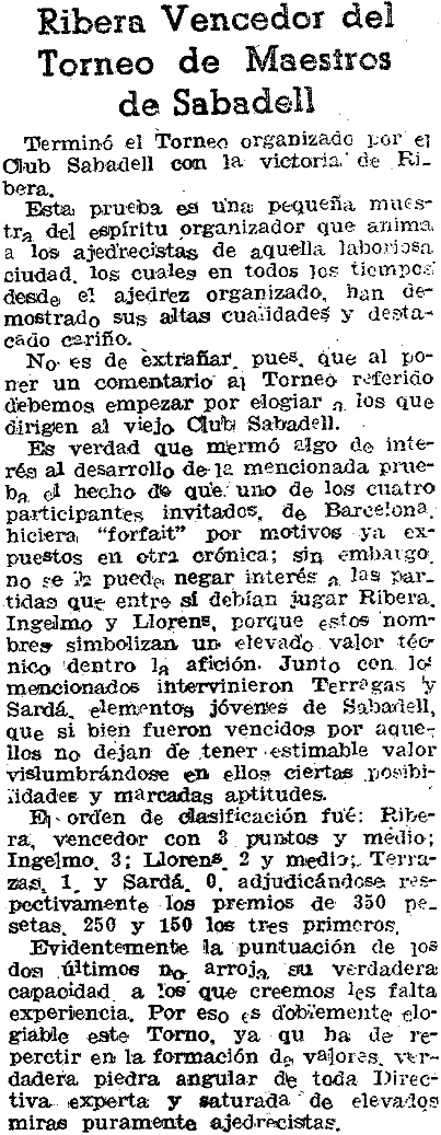 El Mundo Deportivo, sobre el II Torneo de Sabadell 1943