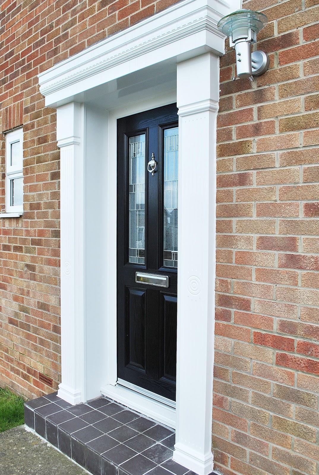 Black altmore composite door and cambridge canopy surround for Composite windows