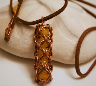Caught you! pendant: copper, jade, chainmaille :: All Pretty Things