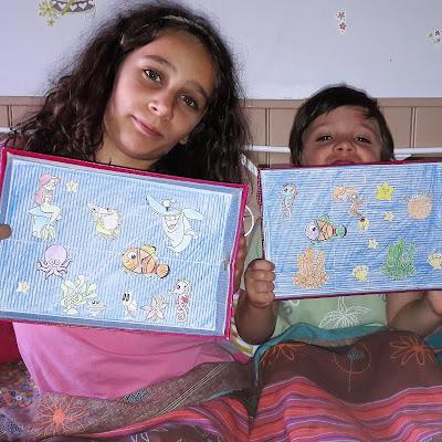 fabriquer construire aquarium boite chaussure kit gratuit poisson crabes sirenes ocean imprimer