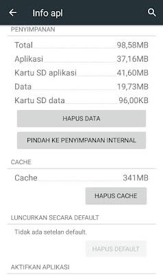 Menghapus cache untuk menghemat penyimpanan android