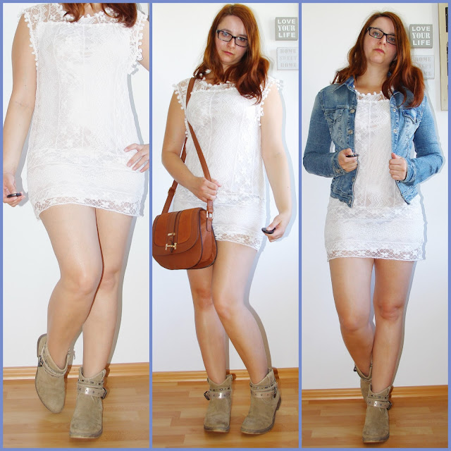 [Fashion] Living The Country Side of Life: White Lace Dress, Boots & Jeans Jacket