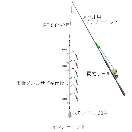 関西の船釣りで釣れる 竿とリール メバル 仕掛け