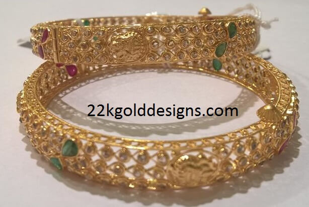 Uncut Diamond Bangles with Lakshmi Design