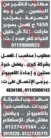 وظائف وسيط الاسكندرية-محاسب-كاشير
