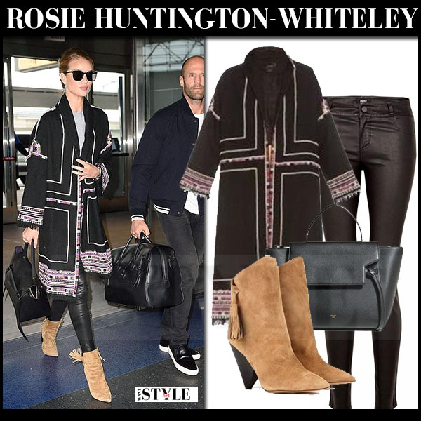 Rosie Huntington-Whiteley in black embellished isabel marant bering coat, leather pants and brown suede ankle boots isabel marant leyton what she wore streetstyle