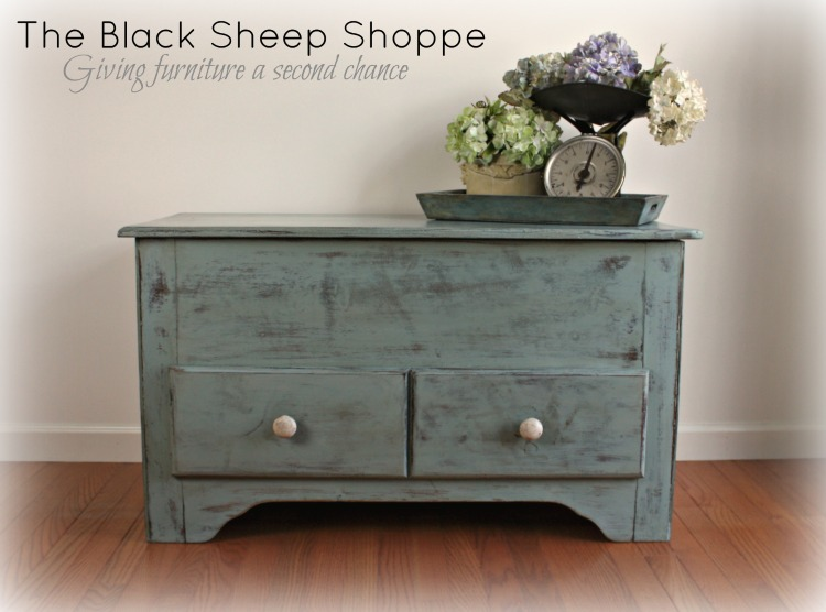 After: Rustic Shaker style blanket chest painted in Duck Egg blue.