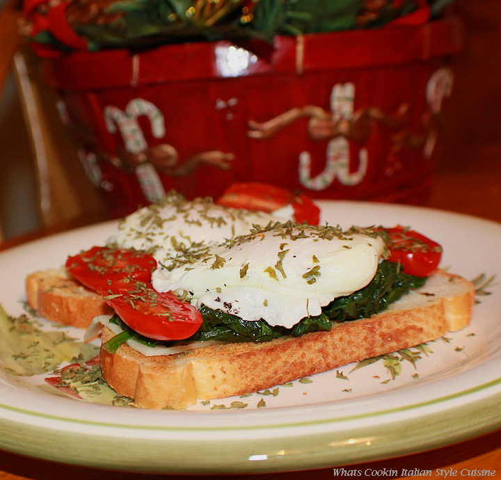 This is how to make poached eggs with spinach, tomato and cheese on toast for breakfast on Christmas morning