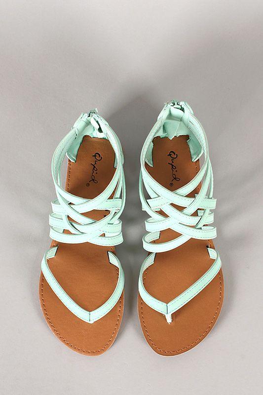 Stylish Mint Strappy Flat Sandals - Creative Ideas