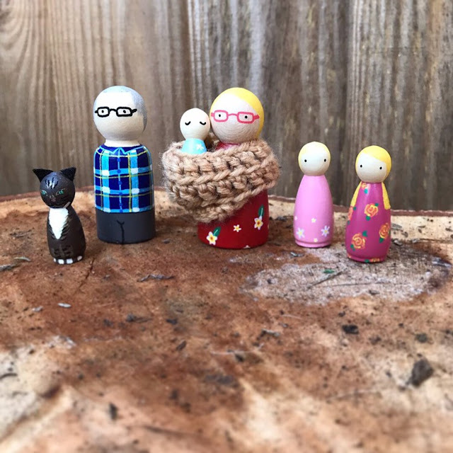 My family as personalised peg dolls from PeggyAndPip on Etsy