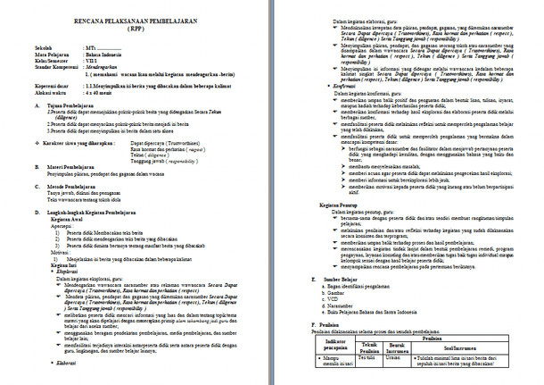 Contoh RPP Silabus Bahasa Indonesia MTs SMP KTSP Lengkap Format Microsoft Word