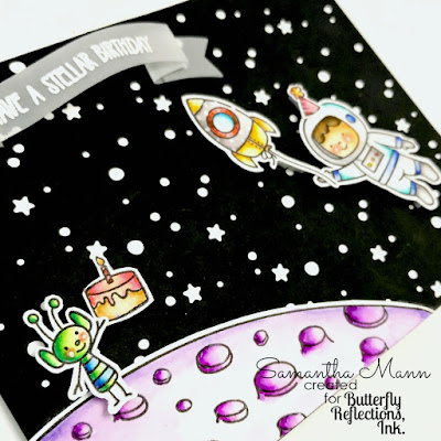 Have a Stellar Birthday Card by Samantha Mann, Avery Elle, Lawn Fawn, Birthday, Cards, Birthday Cards, die cuts, #lawnfawn #averyelle #cards #cardmaking #birthday #birthdaycards #astronaut