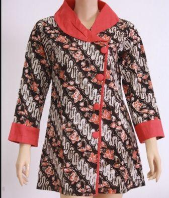 Rancangan Baju Batik Kerja Untuk Wanita Lengan Panjang dan ...