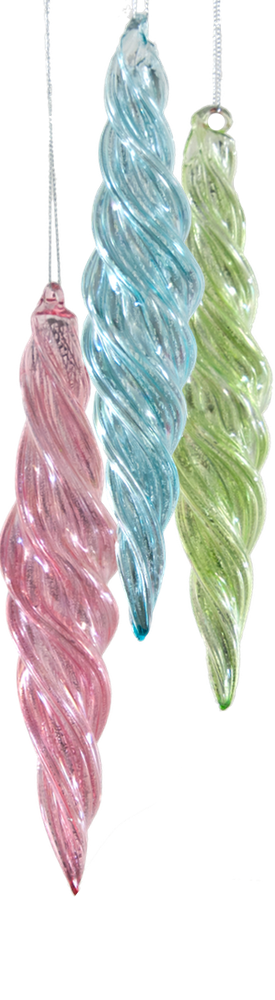 Katherine's Collection Twisted Taffy Finial Ornament-Assortment of 3