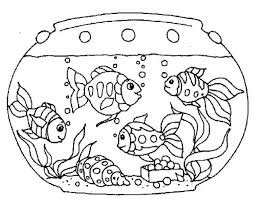 Cute Goldfish On Tank Coloring Sheet Download