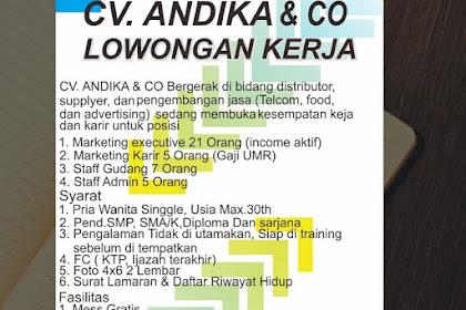 Lowongan Kerja CV Andika & CO