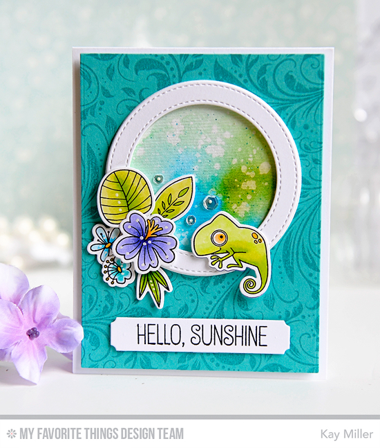 Hello Sunshine Card by Kay Miller featuring the Blissful Blooms, Tiki Party, and Birdie Brown Polynesian Paradise stamp sets and Die-namics, Garden Flourish Background stamp, and Sentiment Strips and Stitched Circle Frames Die-namics #mftstamps