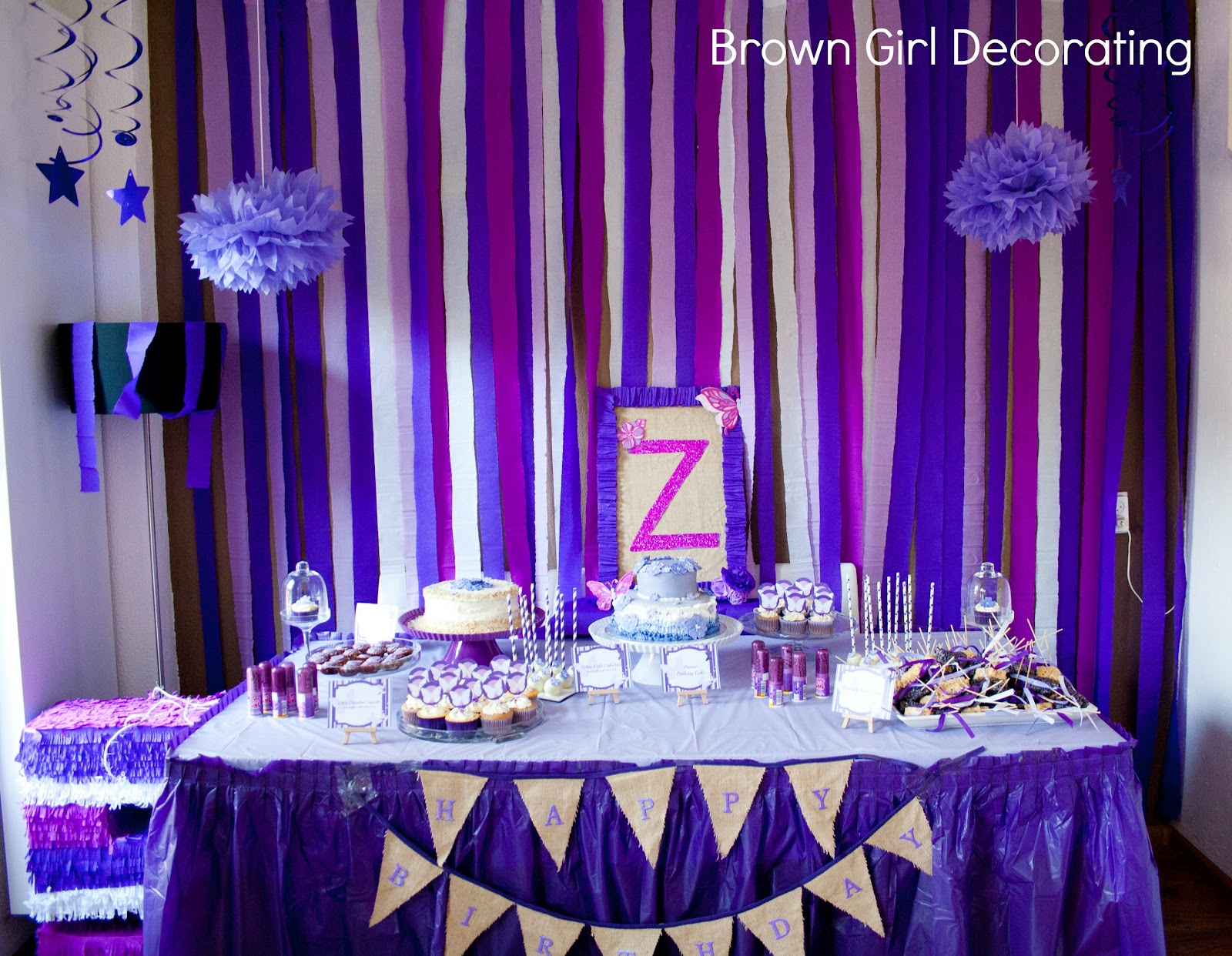 A purple butterfly birthday brown girl decor