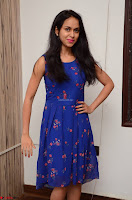 Pallavi Dora Actress in Sleeveless Blue Short dress at Prema Entha Madhuram Priyuraalu Antha Katinam teaser launch 036.jpg