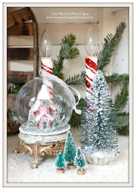 Farmhouse Christmas Kitchen-Bottle Brush Trees-Candy Cane Candles-From My Front Porch To Yours