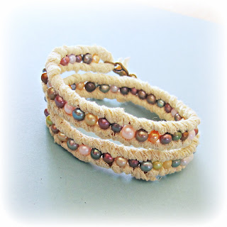 image lace and pearl bracelet freshwater pearls multicoloured rainbow