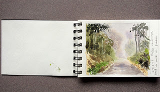 A water colour study work in a small sketch book by Manju Panchal