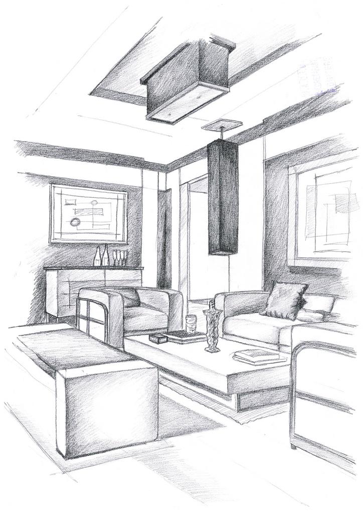 Interior design hand drawings alexandra l nicolaescu - Hand drafting for interior design ...