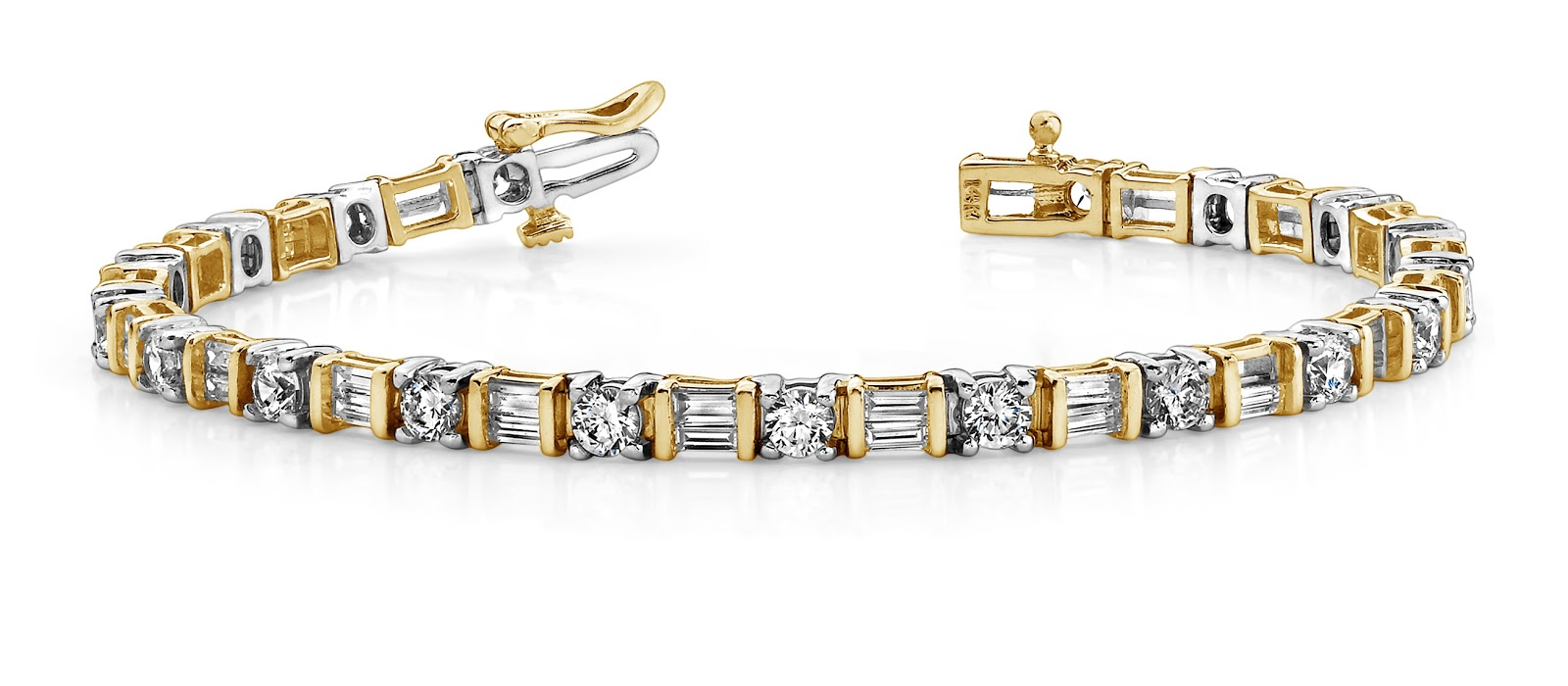 Round and Baguette Diamond Bracelet from Anjolee Jewelry