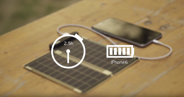 Încărcător cu panou solar care încarcă un telefon în 2 ore și 30 de minute