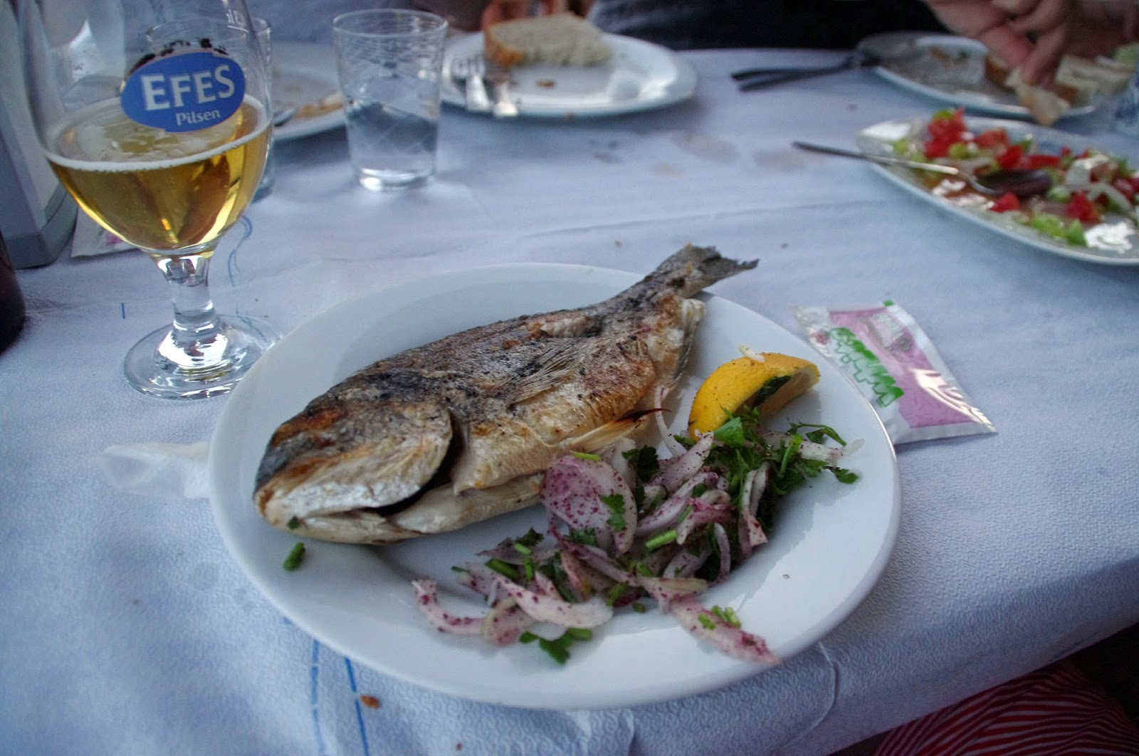 Fresh seafood at restaurant in Assos Turkey