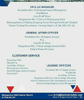 Karir Lowongan Kerja Mall  Festival Citylink Bandung 2019 SMA SMK D3 S1