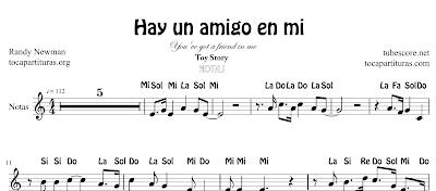 Hay un amigo en mi de Randy Newman Partitura de Flauta, Violín, Saxofón Alto, Trompeta, Viola, Oboe, Clarinete, Saxo Tenor, Soprano Sax, Trombón, Chelo, Fagot, Trompa, Corno, Contrabajo, Tuba...Tablaturas de Guitarra, Ukelele y Banjo Tabs