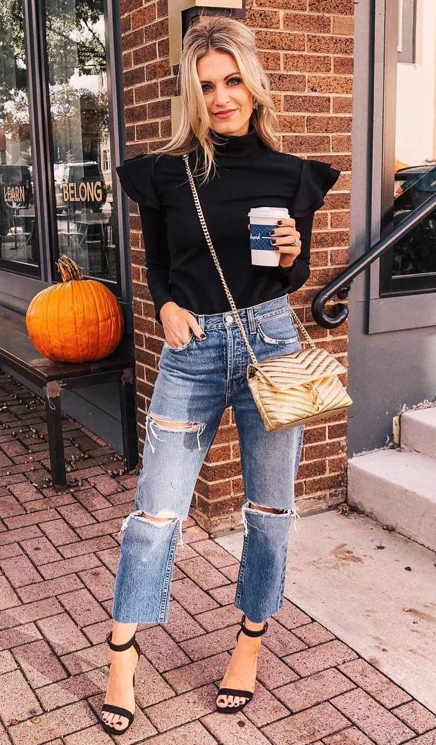 elegant fall outfit / black ruffle top + crossbody bag + ripped jeans + heels