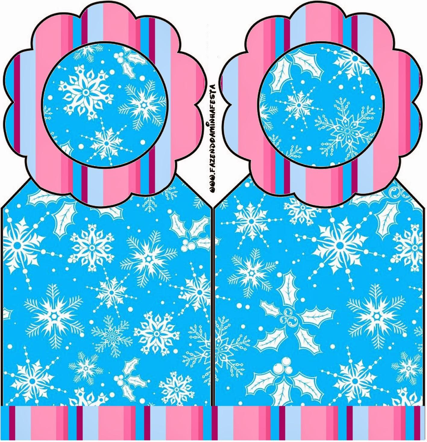 Para marcapaginas para imprimir gratis de Frozen en Morado y Celeste para Navidad.