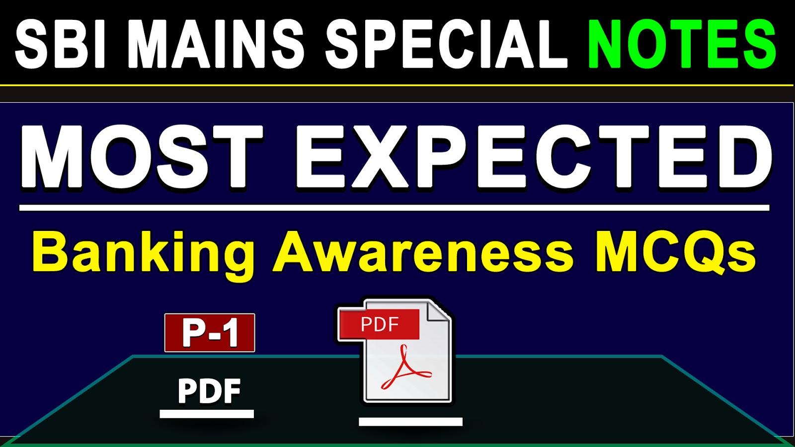 Banking Awareness Quiz for SBI Mains
