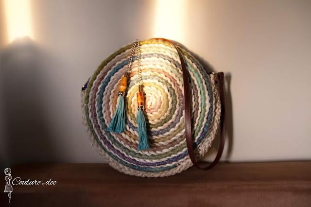 torba, koszyk, pleciona, kolorowa, boho, handmade