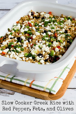 Slow Cooker Greek Rice with Red Pepper, Feta, and Olives
