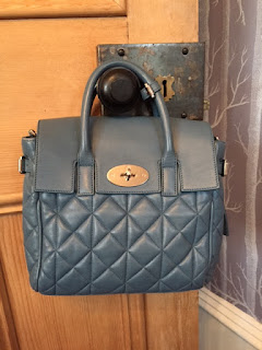 Mulberry Mini Cara in Steel Blue Quilted Nappa