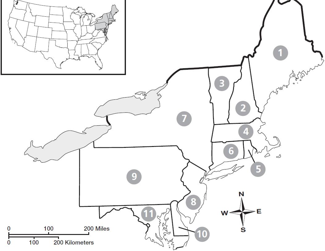 Blank Map Northeast Region