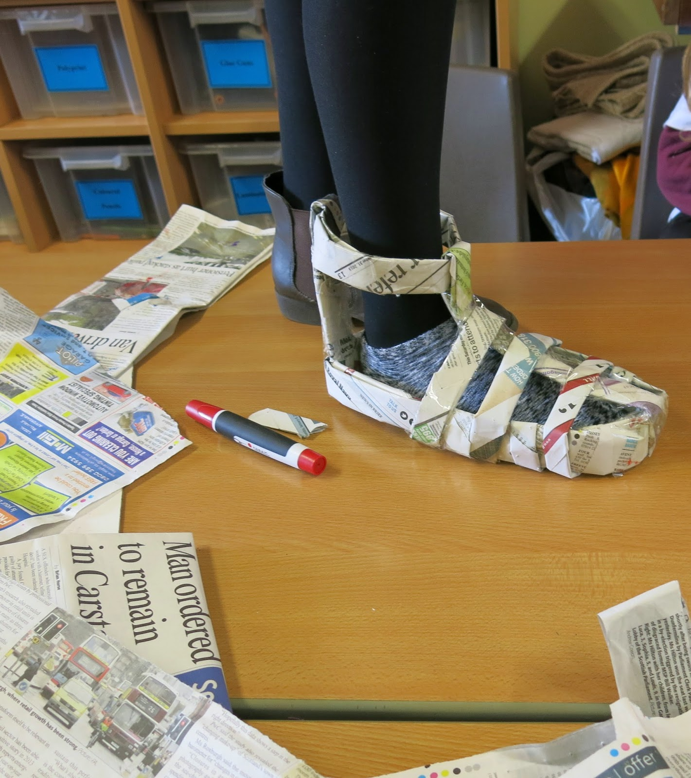 Mrs Crosbie Newspaper Shoes