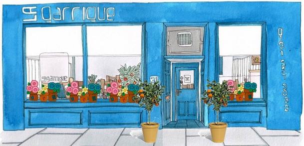 Painting of La Garrigue restaurant.
