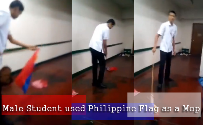 Male Student used Philippine Flag as a Mop