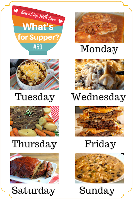 Crock Pot Taco Soup, Chicken Tetrazinni, Cast Iron Patty Melts, Baked Chili Fries, and more are featured at What's for Supper Sunday meal plan over at Served Up With Love
