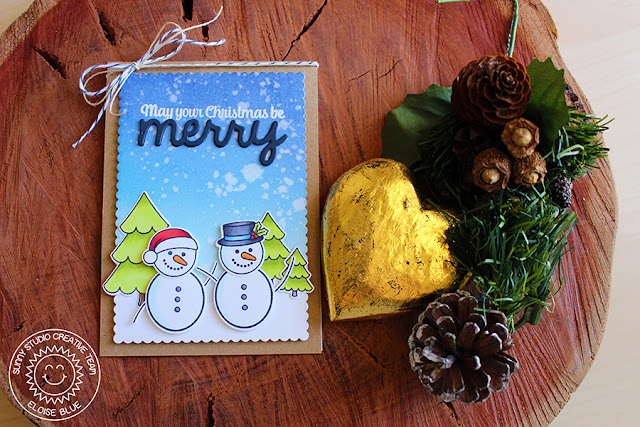 Sunny Studio Stamps: Christmas Icons Snowman Card by Eloise Blue (using Gleeful Reindeer, Merry Sentiments & Birthday Smiles).