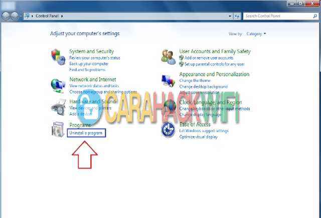 Uninstall program di control panel