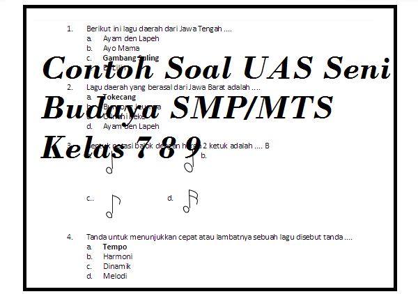 Soal UAS Seni Budaya Kelas 7 8 9