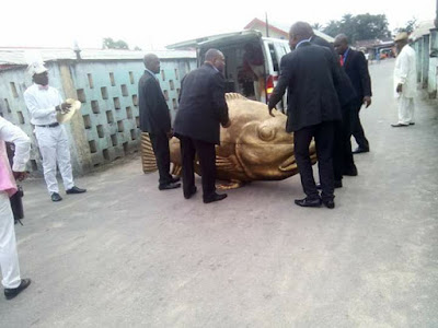 OMG!!! DEAD MAN BURIED IN A 'FISH' CASKET CAUSES CHAOS IN AKWA-IBOM – SEE WHAT HAPPENED NEXT (PHOTOS)